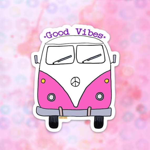 Bus Van Sticker, Vinyl Sticker for Laptop, Car Decal, Water Bottle Sticker, Car Sticker, Hippie Bus, Van Life Sticker, Good Vibes sticker