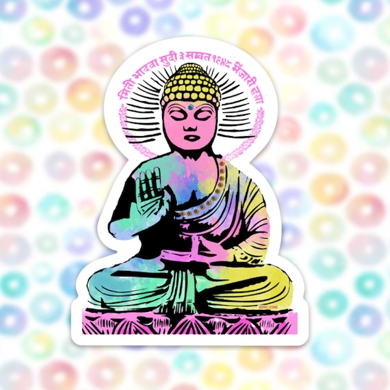 Buddha Sticker Decal, Vinyl Stickers for Laptops, Car Decals, Zen Sticker, Phone Sticker, Yoga sticker, Enlightenment, Colorful Sticker