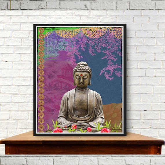 Buddha Art Print - Collage Colorful Digital Painting - Mixed Media - Wall Art - Colorful