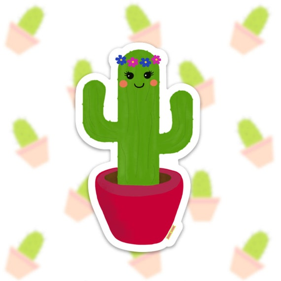 Cactus Sticker Decal, Vinyl Stickers for Laptops, Car Decals, Notebook Sticker, Phone Sticker, Happy Cactus, Cacti sticker, Desert Sticker