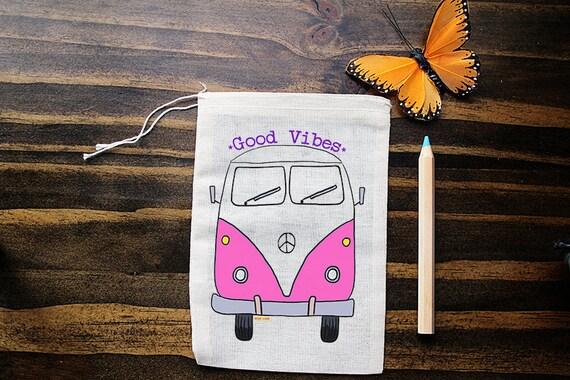 VW Bus mousselines - Art - pochette - cadeau sac - 5 x 7 sac - pochette cristal - cotillons - emballage - Good Vibes