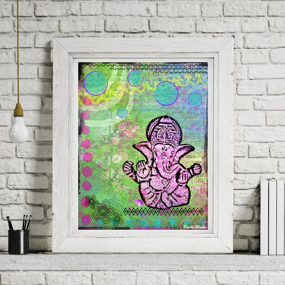 Ganesh Elephant Art Print - Inspirational Art -  Mixed Media Collage Painting - Green Ganesha - Spiritual Art
