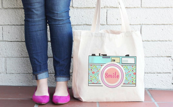 Camera Tote Bag -  Photographer Bag - Photography Bag - Canvas Book Bag - Camera Smile Shopping Bag