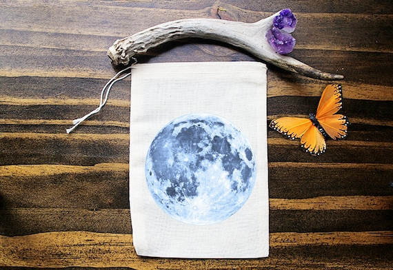 Full Moon Muslin Bags - Art Bag - Pouch - Gift Bag - 5x7 bag - Crystal Pouch - Party Favor - Packaging