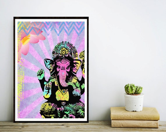 Ganesha Art Print - Inspirational Collage Art - Colorful Painting - Home Decor - Poster - Elephant