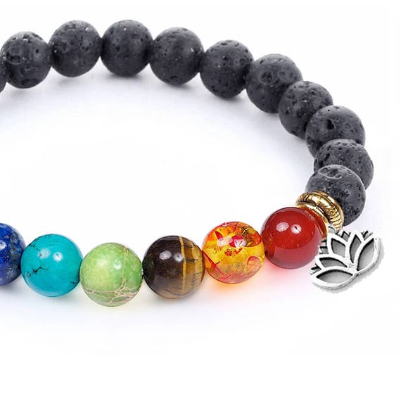 Chakra Balancing Lava Bead Diffuser Bracelet - Essential Oil Aromatherapy - FREE Gift Pouch - Lava and Crystal Bracelet - Yoga - Reiki