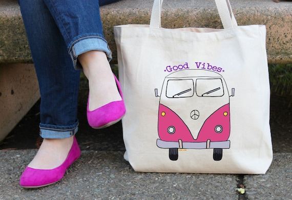 Bus Tote Bag  - Reusable Cotton Grocery Shopping Bag - Book Bag - Beach and Yoga Bag - Good Vibes - Hippie - Hippie Bus - Free Shipping