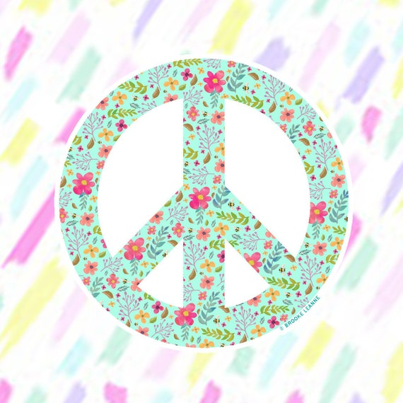 Peace Flower Sticker Decal, Vinyl Stickers for Laptops, Car Decals, Peace Sign Sticker, Phone Sticker, Hippie Sticker, Flower Peace Sign