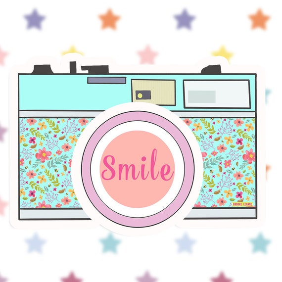 Camera Sticker Decal, Vinyl Sticker for Laptop,  Car Decal, Photographer Sticker, Water bottle Sticker, Smile Sticker, Photography Sticker