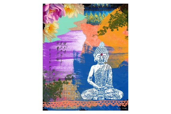 Buddha Art Print - Inspirational Colorful Collage - Mixed Media Art