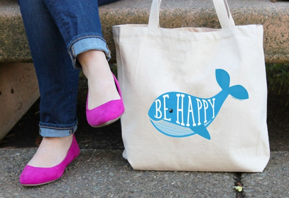 Whale Be Happy Tote Bag, Reusable Shopper Bag,  Market Bag, Cotton Tote Shopping Bag, Reusable Grocery Bag, Printed in USA