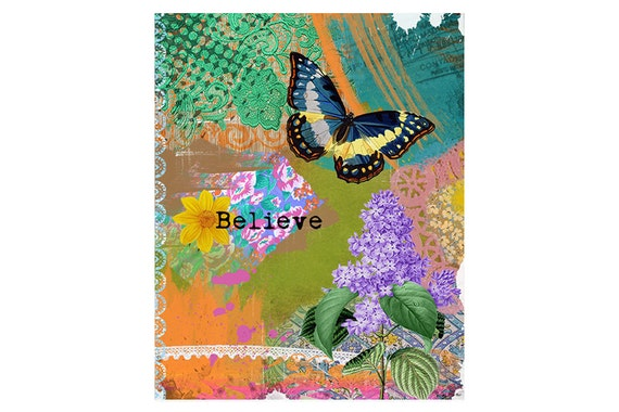 Butterfly Art Print - Inspirational word - Poster - Collage - Colorful Art