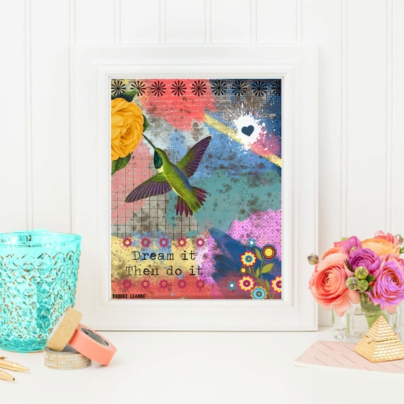 Hummingbird Art Print - Inspirational Hummingbird Art - Wall Art- Mixed Media Collage - Quote Poster