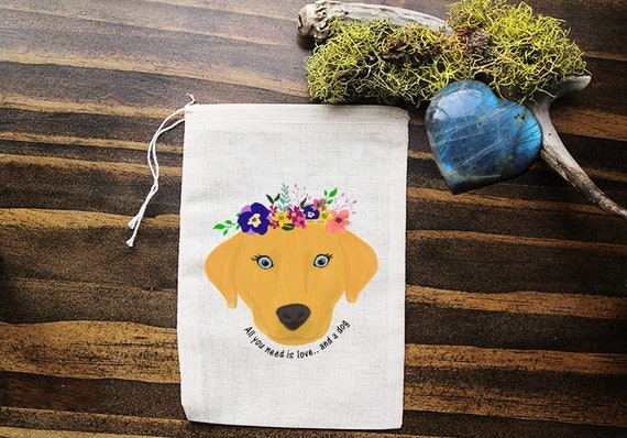 Dog Muslin Bags - Art Bag - Pouch - Gift Bag - 5x7 bag - Crystal Pouch - Party Favor - Packaging