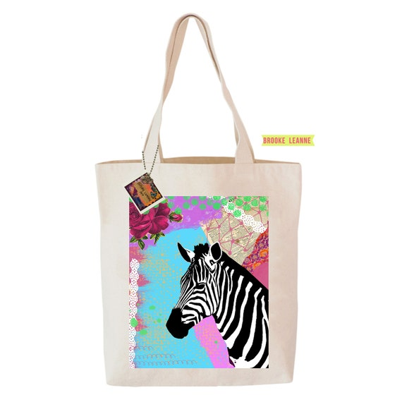 Zebra Tote Bag Reusable Grocery Shopping Bag Farmer S Etsy