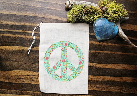 Peace Sign Muslin Bags - Art Bag - Pouch - Gift Bag - 5x7 bag - Crystal Pouch - Party Favor - Packaging