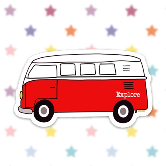 Bus Van Sticker Decal, Vinyl Stickers for Laptops, Car Decals, Notebook Sticker, Phone Sticker, Hippie Bus, Van Life, Camping, Explore