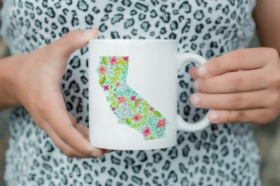 California Mug. 11oz  Coffee and Tea Mug. CA Flower Mug. State Love. Ceramic Mug. California Coffee Cup. State Pride Mug. Traveling Cup