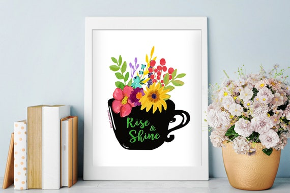 Coffee and Flower Art Print -  Coffee Shop Art  - Coffee Lover - Kitchen Art