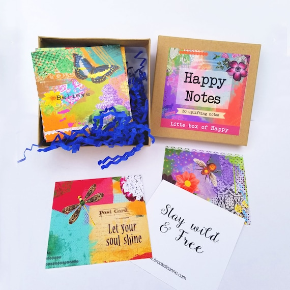 Happy Notes - Uplifting Note Cards - Happy Note Cards - Positive Vibes - Words Of Encouragement - Mental Health Gift