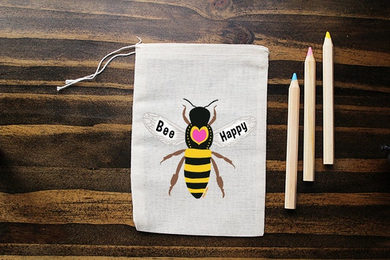 Bee Muslin Bags - Art Bag - Pouch - Gift Bag - 5x7 bag - Crystal Pouch - Party Favor - Packaging - Honey Bee