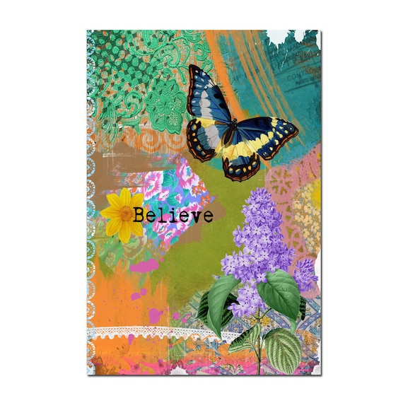 Butterfly Magnet Art - Uplifting and Inspiring Magnet Refrigerator - Office Decor - Gift - Gift under 5