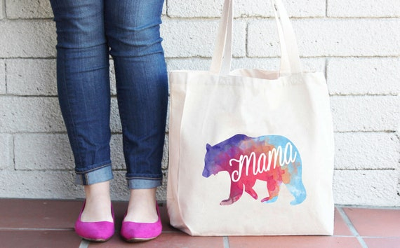 Mama Bear Tote Bag - Mother's Day Gift - Baby Shower Gift - Baby Announcement - Diaper Bag - Shopping Bag
