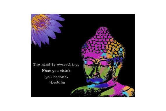 Buddha Art Print - Inspirational Art Painting - Mixed Media Collage - Colorful Art