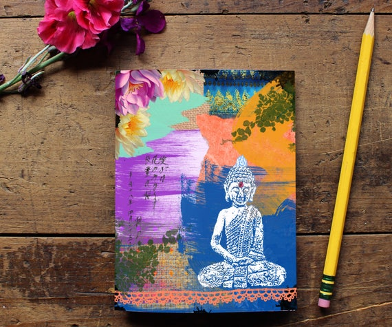 Buddha Journal - Handmade Notebook - Blank Journal - Writing journal - Sketchbook - Yoga Lover Gift - Notepad - Daily Planner