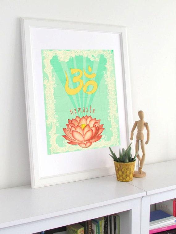 Lotus Om Art Print - Boho Poster - Wall Art - Poster - Yoga Art - Namaste