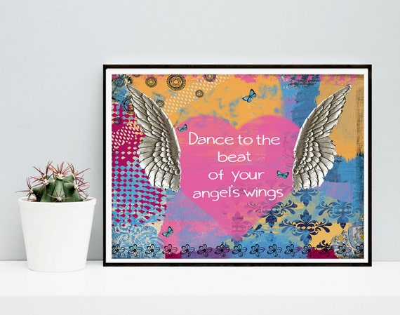 Angel Wing Art Print - Quote Collage -  Wall Art - Blue - Home Decor