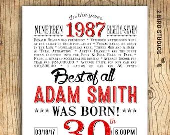 30th birthday invitation- Surprise 30th birthday party invitation - 30th birthday for him - invitation for men - In the year 1987 - 30 years