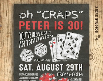 Surprise 30th birthday invitation casino theme party etsy casino invitation for poker party birthday 30th birthday or 40th 50th 60th over the hill surprise party invitation diy casino invite filmwisefo