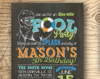 Dinosaur pool party invitation - Pool party & dinosaur birthday invitation - matching thank you card - Dinosaur party pool party birthday