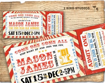 Circus invitation - Vintage circus birthday invitation -   DIY circus or carnival ticket invite - printable invitation