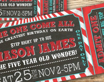 Circus birthday invitation - Circus party invitation - Carnival birthday party invitation - Chalkboard ticket DIY printable invitation