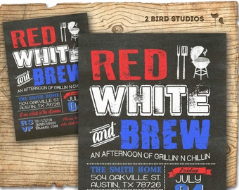 printable 4th of july invitation chalkboard fourth of july etsy