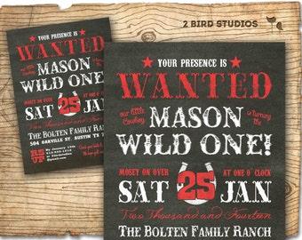 Cowboy invitation - First birthday invitation - Western 1st Birthday invitation - Chalkboard cowboy printable invitation / invite