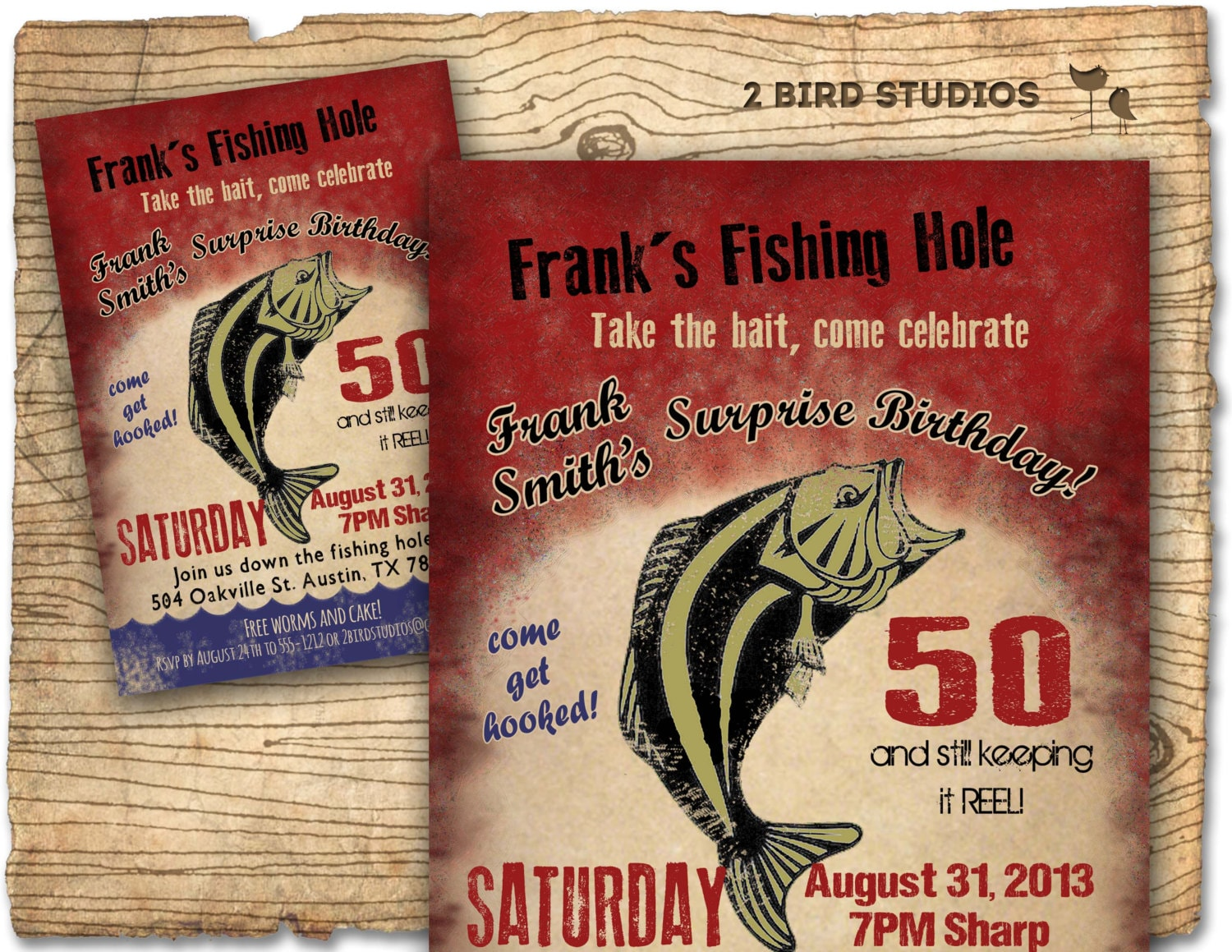 Fishing Birthday Party Invitation / invite 30th 40th 50th