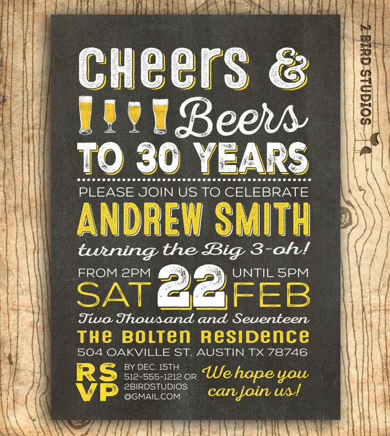 Cheers And Beers To 30 Years Invitation 30th Birthday