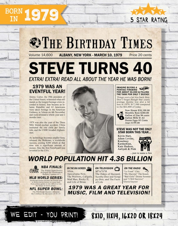 40th Birthday Newspaper Poster