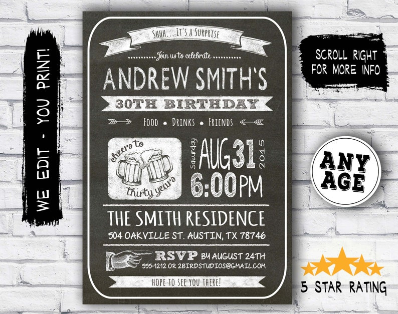 30th Birthday Invitation Male Party Invitations