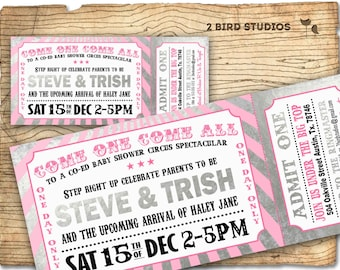 Circus baby shower invitation - Carnival baby shower girl baby shower invite- DIY Circus ticket couples coed shower - Silver / grey and pink