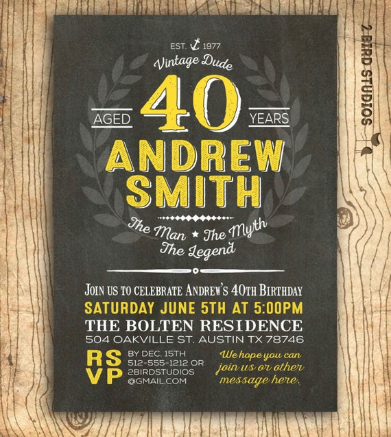 40th birthday invitation for him surprise 40th birthday party