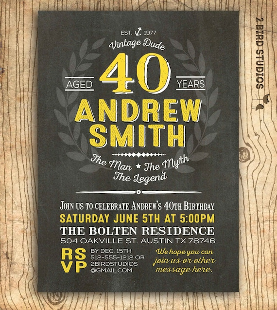 40th Birthday Invitation For Him