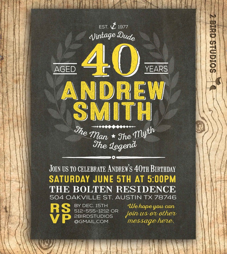 40th Birthday Invitation For Him Surprise