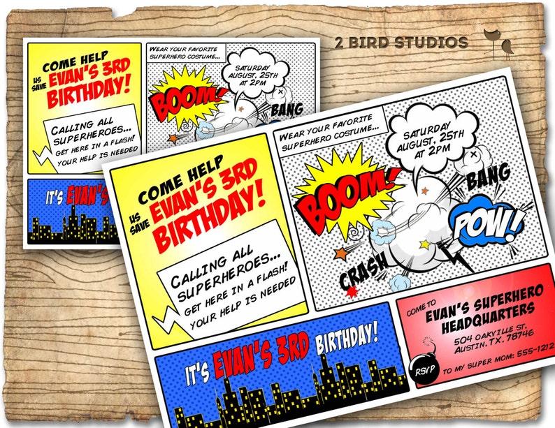 Superhero Invitation Birthday Invite DIY