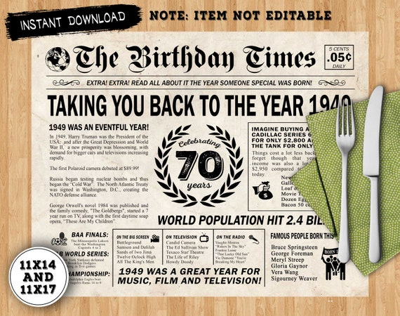 image about Free Printable Birthday Newspaper identified as Back again Inside of 1949 Newspaper destination mat - Electronic Poster - 70th