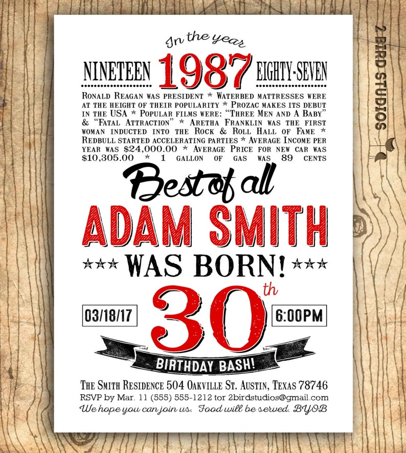 30th Birthday Invitation Surprise Party