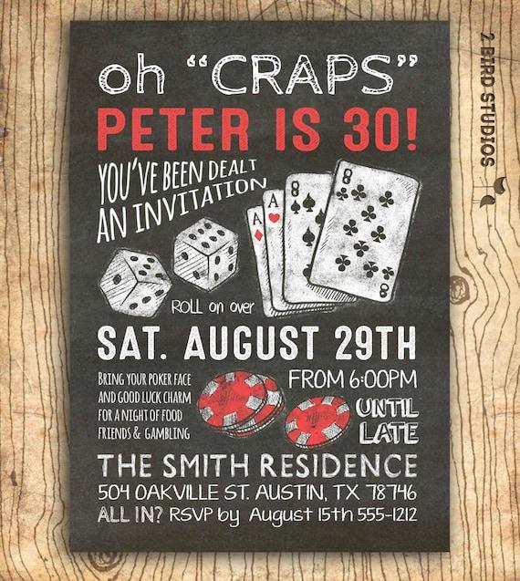Casino Invitation For Poker Party Birthday 30th Birthday Or Etsy